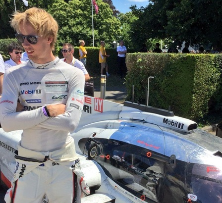 Brendon Hartley at the Goodwood Fesitval of Speed.